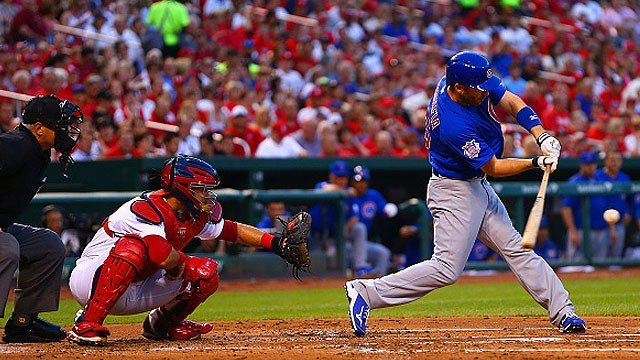 Miguel Montero #47 of the Chicago Cubs hits an RBI single against the St. Louis Cardinals in the first inning at Busch Stadium on May 4, 2015 in St. Louis, Missouri. (Photo by Dilip Vishwanat/Getty Images)