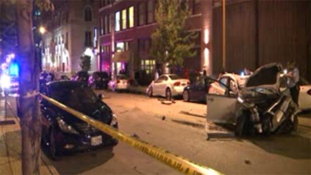 Several parked cars were damaged during an overnight crash in downtown St. Louis.