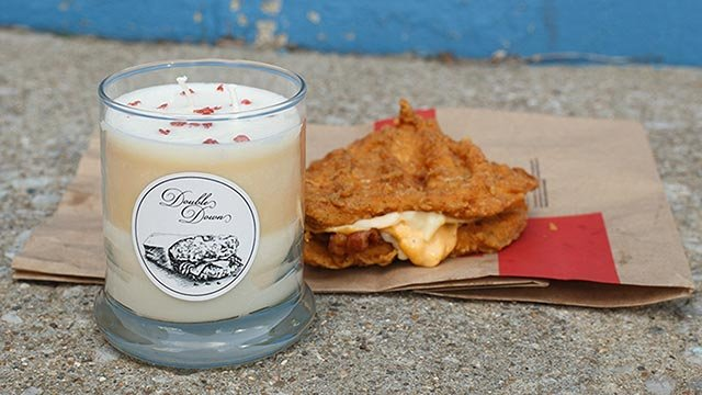 (Credit: Kentucky for Kentucky) Kentucky for Kentucky is offering a limited edition Double Down candle, which smells like fried chicken and bacon.