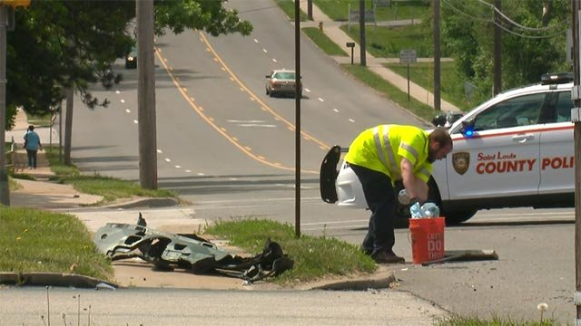 Officers were pursuing a suspect vehicle when it crashed at West Florissant and Hudson around 8:30 a.m.