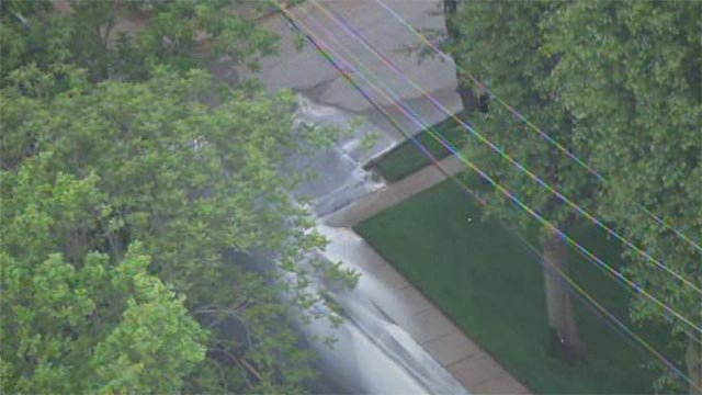 A water main break occurred at South Sappington Road and West Place