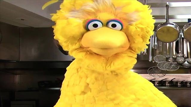(Credit: Lawrence Jackson/The White House) Big Bird in the White House Kitchen
