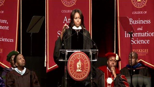 Speaking at Tuskegee University in Alabama, Obama told the audience that when her husband was running for office in 2008, she faced questions which she said were not typical for other candidates' wives.