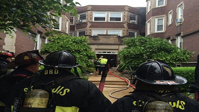 Firefighters battled a two-alarm blaze at a building in the Central West End Monday morning