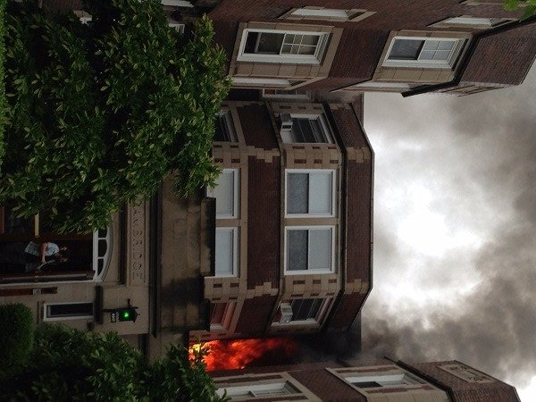 Fire rips through an apartment building in the Central West End Monday (Credit: Dolores Hardwick/Resident)