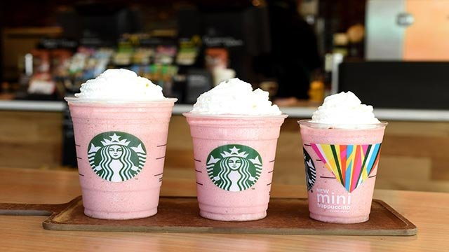 (Credit: Starbucks) Starbucks is releasing the Mini Frappuccino (pictured at left,) its smallest Frapp yet.