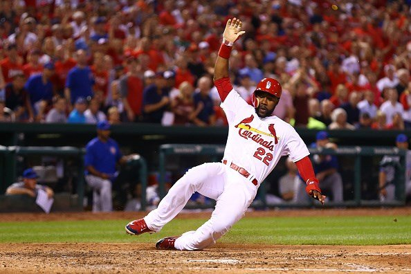 Jason Heyward scores a run against the Chicago Cubs in the sixth inning at Busch Stadium on May 6. (Getty Images)