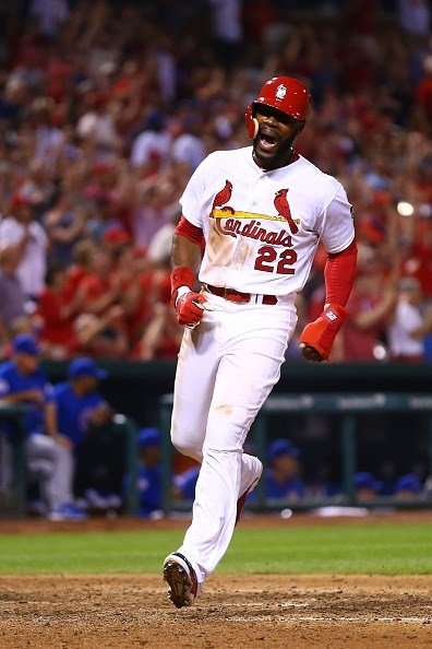 Jason Heyward celebrates after scoring the go-ahead run against the Chicago Cubs in the seventh inning at Busch Stadium (Getty Images)