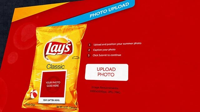 (Credit: Lays) Lays is celebrating summer 2015 with a social media stunt. It's offering consumers the chance to upload photos of themselves, their dogs, or whatever please them to an interactive tool called the Lay's Summer Bag Creator.