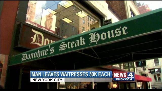 A waitress at a steakhouse in New York City was shocked to learn that one of her favorite customers had left her a hefty tip in his will -- $50,000.