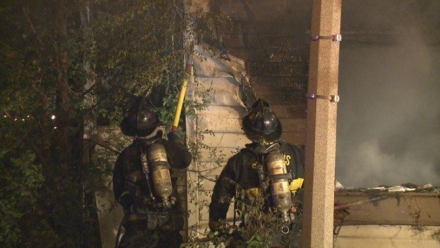 Fire crews battle a blaze in the 100 block of Espenshied late Tuesday night.