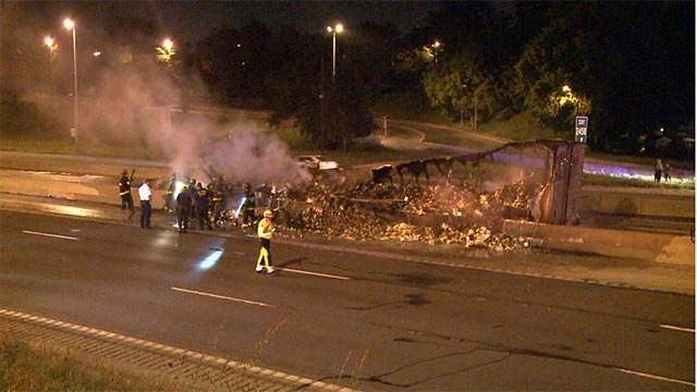 The express lanes at Shreve closed just before midnight after the tractor trailer became fully engulfed in flames.