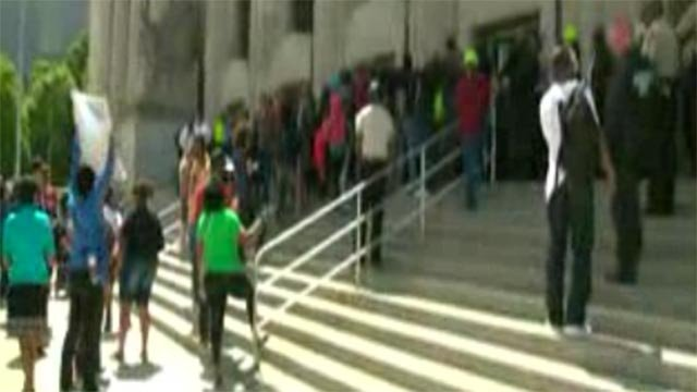 Protesters marched outside the St. Louis Circuit Attorney's Office Tuesday morning.