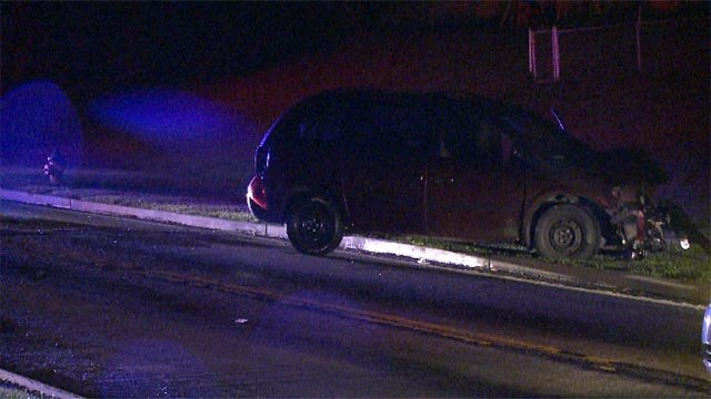 One of the cars involved in the rolling gun battle crashed into a vehicle in Bellefontaine at Foxlair and Lilac