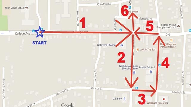 The route for the 2015 Alton Memorial Day Parade