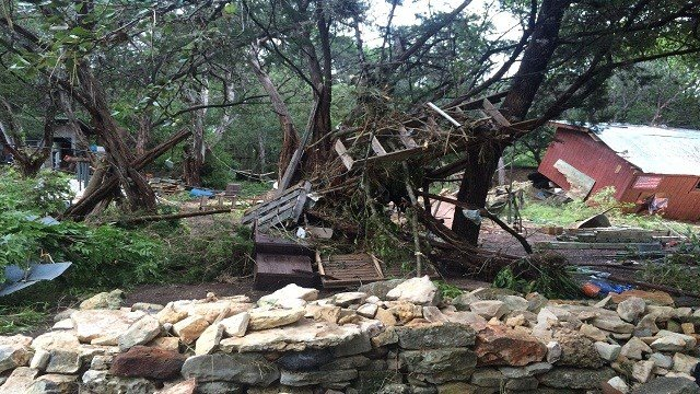Flash flooding leaves behind destruction in San Marcos, TX.