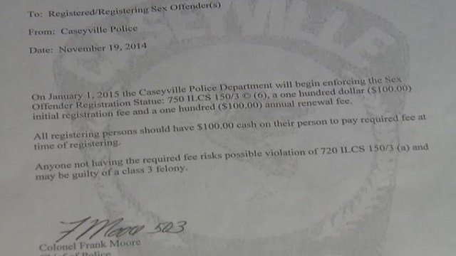 A letter from the Caseyville Police Department informs registered sex offenders they are required to pay the city an annual fee of $100.