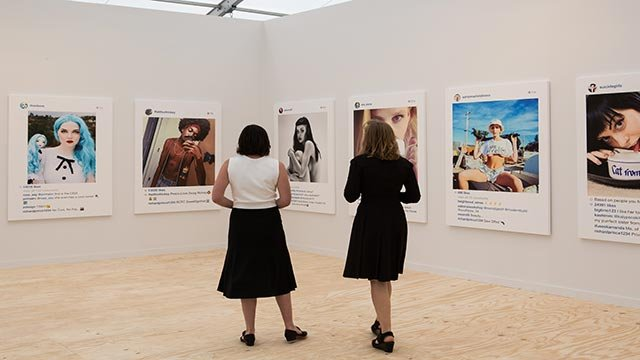 (Credit: Marco Scozzaro/Frieze) Artist Richard Prince blew up screenshots of other people's Instagrams, hung them at the Frieze Art Fair in New York and reportedly sold almost all of them for $90,000 each.
