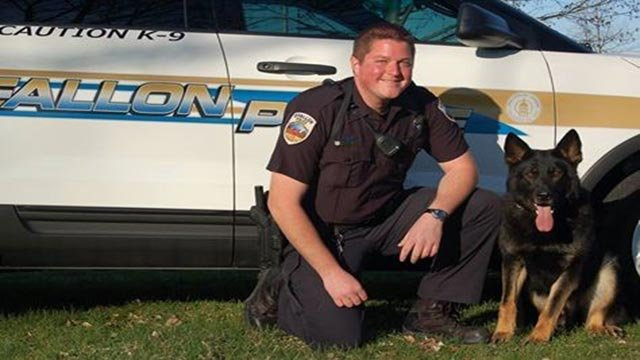 Talos, a K-9 with the O'Fallon Police Department, was injured during a standoff Sunday