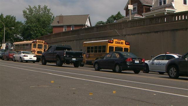 A school bus was involved in an accident on Chippewa and Meramec before 10 a.m.