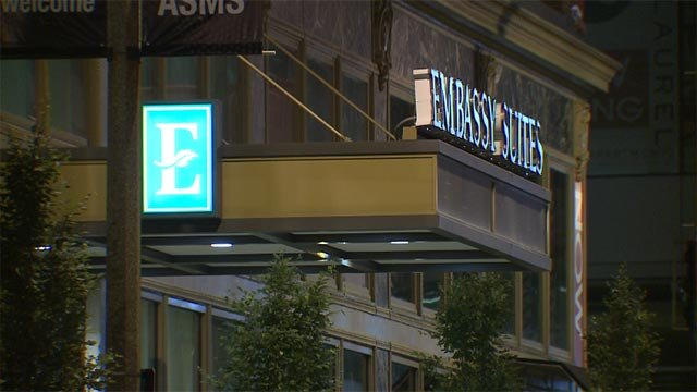 A valet was robbed outside of the Embassy Suites in downtown St. Louis early Wednesday