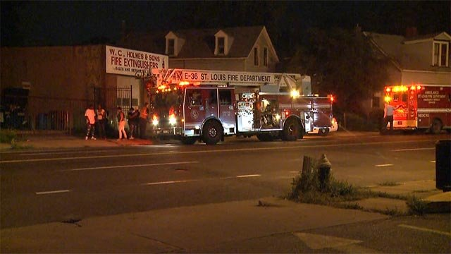 A woman was taken to the hospital after being struck by a vehicle in north St. Louis Friday morning