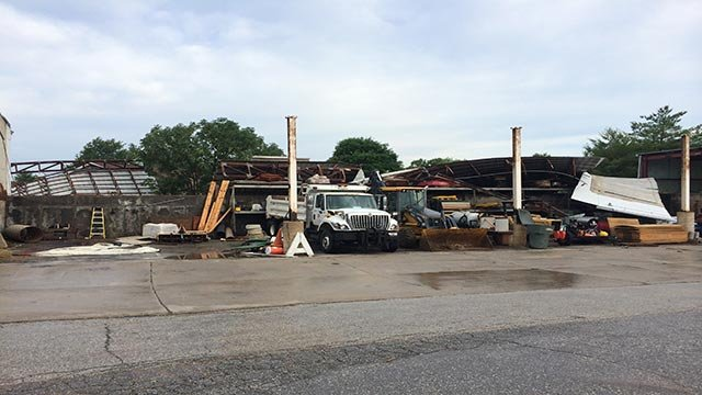 Friday morning's storms blew the roof off a building