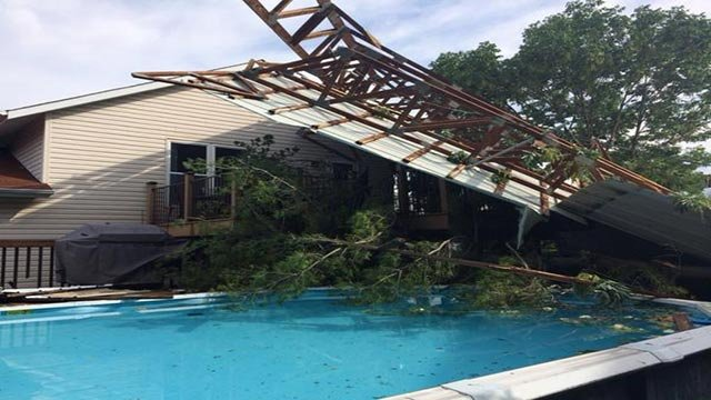 A roof fell onto this house in St. Peters Friday morning