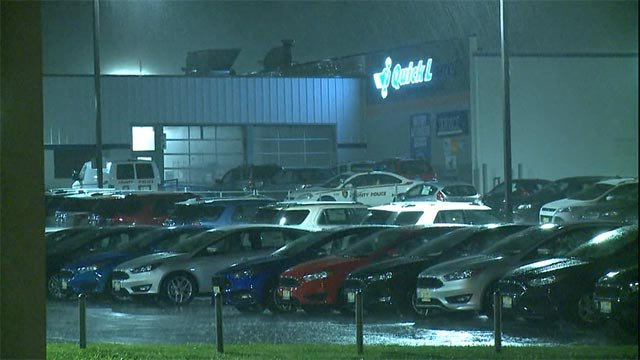 According to police, burglars set off the alarm at Paul Cerame Ford around 2:00 a.m.