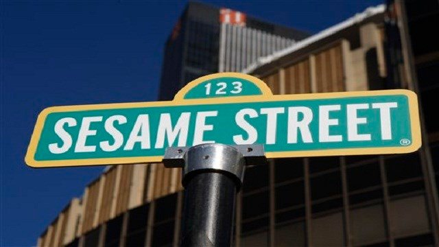 A sign for Sesame Street is shown in front of Madison Square Garden in celebration of the 30th anniversary of the live touring stage shows based on the PBS television series in New York, Thursday, Feb. 4, 2010. (AP Photo/Kathy Willens)