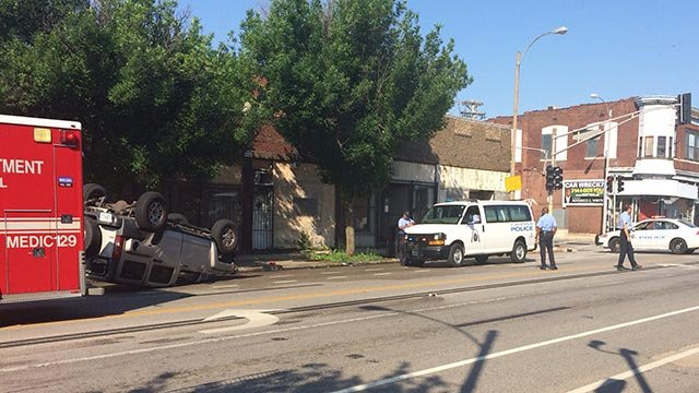 A vehicle overturned in north St. Louis Tuesday morning