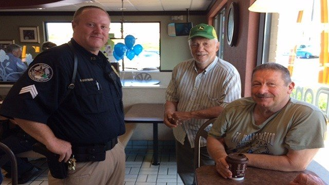 Officers from the Pacific Police Department has coffee with residents at McDonald's.
