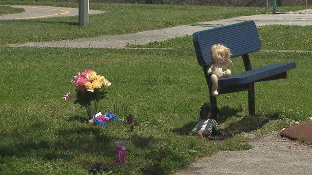 A memorial marks the spot where Jennifer Dorsey, 27, was shot and killed in Rumbold Park.