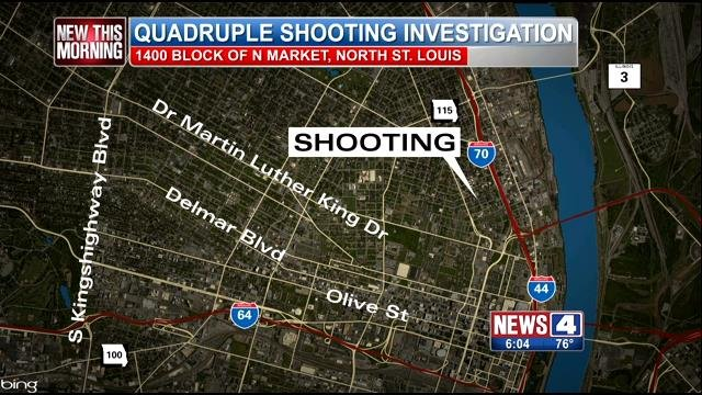 Police are investigating a quadruple shooting in the 1400 block of N. Market.