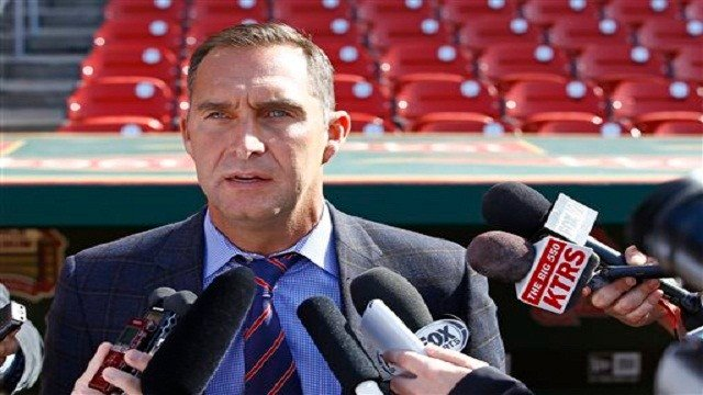 General Manager John Mozeliak addresses members of the media on Monday, April 27, 2015, in St. Louis.  (AP Photo)