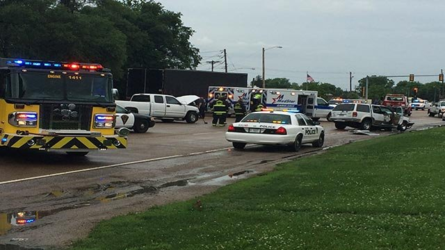 At least one person was transported after a head-on crash in Cahokia Wednesday