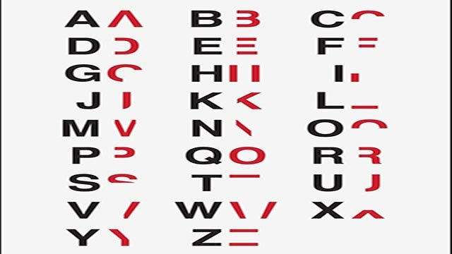 (Credit: Courtesy Daniel Britton) Daniel Britton's typeface removes lines from normal lettering to simulate the difficulty dyslexic people have while reading.
