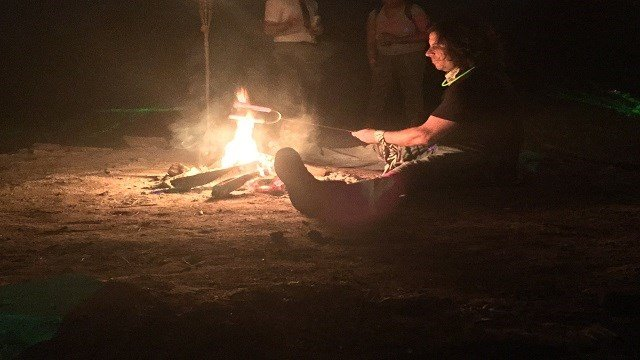 Summer campers usually love a traditional bonfire. It's no different at Camp Throwback.