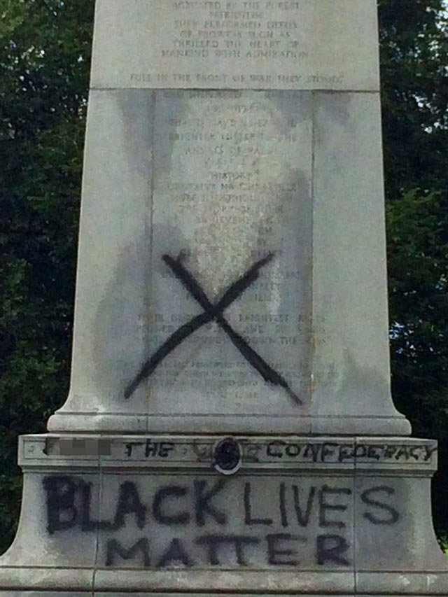The Confederate monument in Forest Park was vandalized overnight