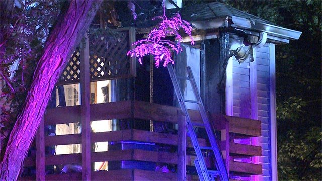 The fire started on the back patio of a condo unit in the 8900 block of Swan Circle around 2:15 a.m.