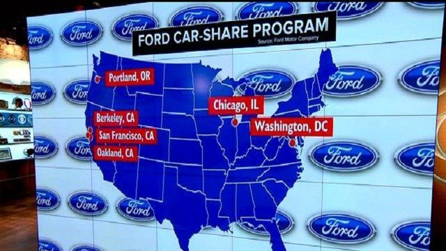 Ford is launching a car-sharing program in six U.S. cities and London.