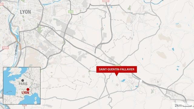 (Credit: CNN) Map showing area where France terror attack happened in Saint-Quentin-Fallavier south of Lyon.