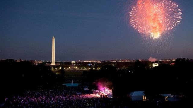 Fireworks begin as the Killers perform on the South Lawn of the White House at twilight on the Fourth of July, 2012. (Credit: Pete Souza/The White House)