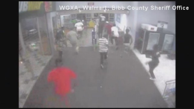 Authorities in central Georgia say up to 50 teenagers bent on destruction raced into a Wal-Mart in Macon, smashing merchandise and causing an estimated $2,000 in damage.