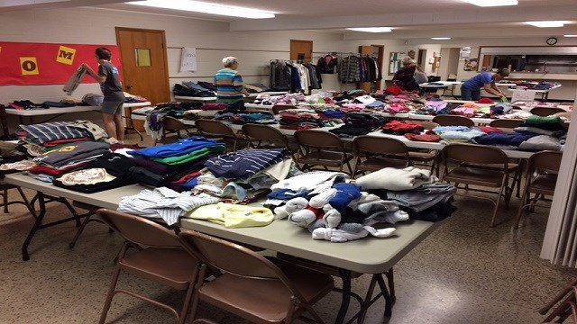 Clothing donations are collected for Jefferson County flooding victims.