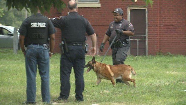 A K9 unit searched for the suspects' weapons.