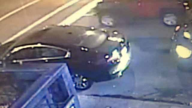 Police believe this black Merecedes was the first car to hit Bapi Gupta near the Broadway Oyster Bar