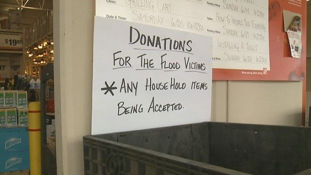 Home Depot in Festus collects donations of household items for the victims of flash floods.