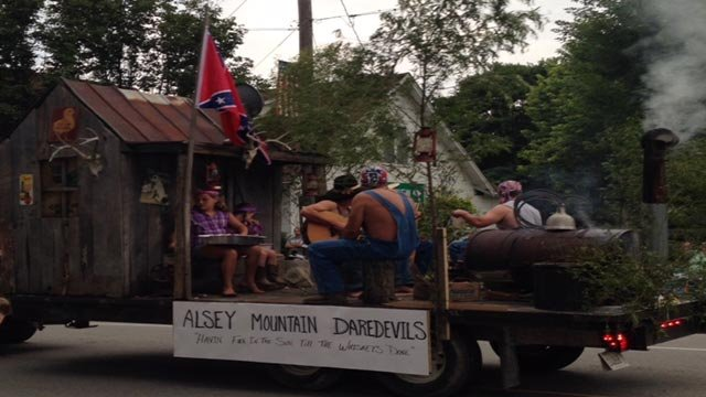 This float won the Fourth of July parade contest in White Hall, Illinois