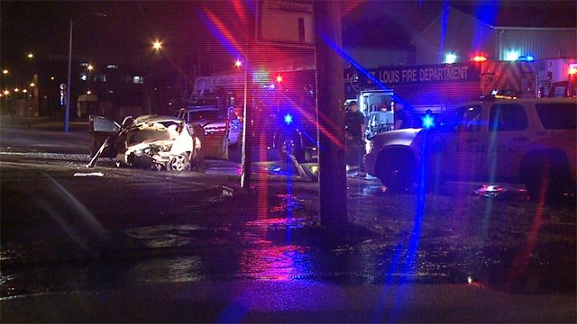 The car lost control and crashed into a fire hydrant around 1:15 Thursday morning at Branch and North Broadway.